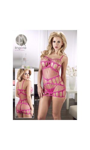 Бесшовное платье-сетка Cottelli Collection, розовое
