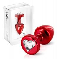 Анальная пробка ANNI R Heart red T1 crystal Analplug