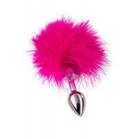 Анальная втулка TOYFA METAL маленькая, серебристая, с розово...