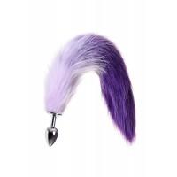 Анальная втулка METAL BY TOYFA с бело-фиолетовым хвостом, ме...