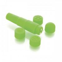 Мини вибратор с насадками Sexus Funny, зелёный, 9,5см