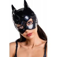 Маска кошки GLOSSY из материала WETLOOK, чёрная, OS