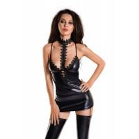 Платье с чокером GLOSSY IVY из материала WETLOOK, чёрное