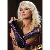 Атласные перчатки - пинетки с фиолетовой шнуровкой